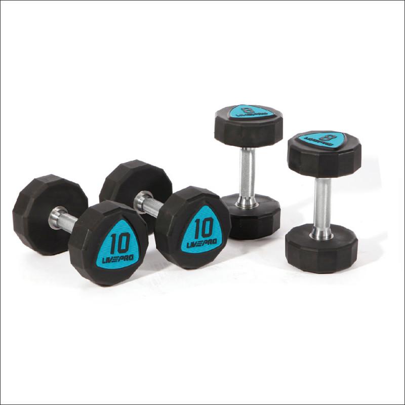 Premium Dumbellset 42-50kg ( per 2 kg ) Polyrethan 12-hoekig 8003 afbeelding 1